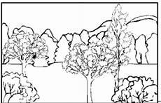landschaft wald einzelne baeume ausmalbild malvorlage