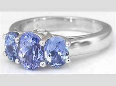 Three Stone Diamond Alternative Sapphire Engagement Ring