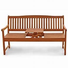 Gartenbank Mit Tisch In Der Mitte - gartenbank mit integriertem klapptisch aus holz ideal f 252 r