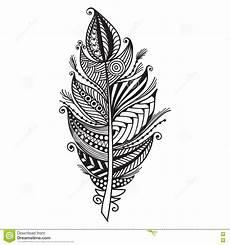 feder schwarz weiß vorlage zentangle feather on white background stock