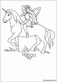 unicorn and princess coloring page free coloring pages