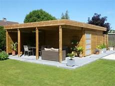 Abri De Jardin Toit Plat En Bois Avec Terrasse Abri De