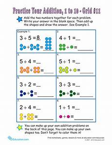 single digit addition math worksheet count the dots single digit addition 11 worksheet