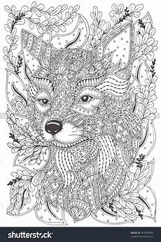 fox hand drawn with ethnic floral doodle pattern