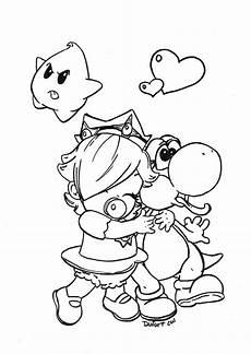 Ausmalbilder Mario Kart Yoshi Rosalina And Yoshi By Jadedragonne Deviantart On
