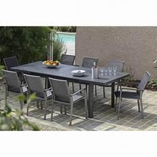 table de jardin bora rectangulaire gris 8 personnes