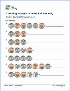 money worksheets pennies 2288 grade 1 counting money worksheet on pennies and dimes money worksheets kindergarten money