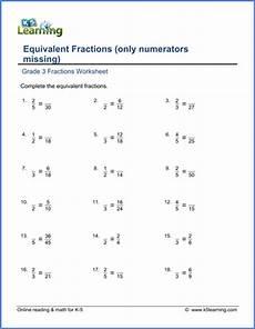 equivalent fraction worksheets grade 3 3916 grade 3 math worksheet equivalent fractions numerators missing k5 learning