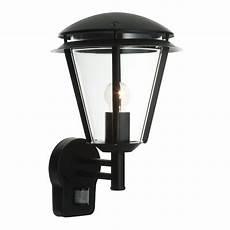 endon lighting outdoor inova pir 1lt wall light ip44 60w in matt black clear pc 49946