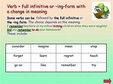 ing form or infinitive grammar part i contents
