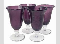 4 Footed Bubble Iced Tea 18 Oz Glasses Plum Purple
