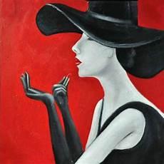 peinture femme moderne tableau peinture femme moderne au chapeau et tenue noir