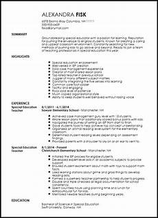 free special education teacher resume template resume now