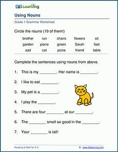 noun worksheets for elementary students noun worksheets for elementary school printable free k5 learning