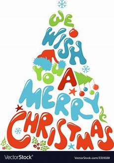 we wish you a merry christmas tree design vector image
