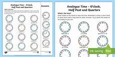 time worksheets o clock half past quarter past quarter to 3123 analogue time o clock half past and quarters worksheet