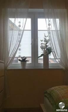 Sensuna 174 Plissee Gardinen Am Schlafzimmer Fenster