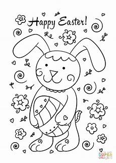 happy easter bunny coloring page free printable coloring
