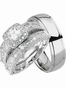 laraso co his and hers wedding sets silver titanium 3