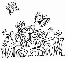 Ausmalbild Schmetterling Wiese Ausmalbilder Blumen Schmetterlinge 01 Malvorlagen Blumen