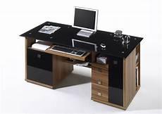 schreibtisch schwarz glas schreibtisch home office walnuss glas schwarz ebay