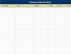 volunteer sign up sheet with notes