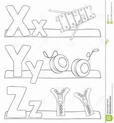 Buchstaben Malvorlagen Xyz Alphabet Coloring Page Letters X Y Z Stock Vector