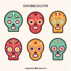 Different Colors Available Premium Skulls Pack Of Six Ornamental Skulls With Different Colors Vector