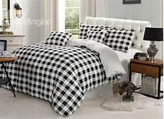 black and white plaid pattern cotton 4 piece bedding sets