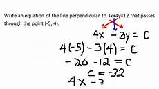 2 d linear equations in standard form perpendicular 7