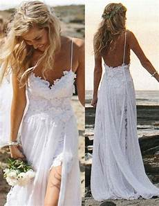 a line spaghetti straps lace backless long beach wedding dress dresstells com
