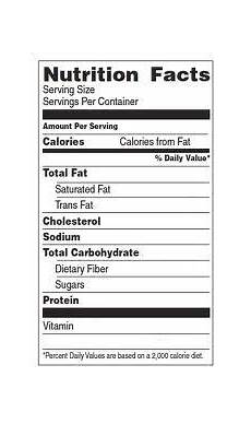 blank food label blank nutrition facts label with