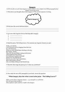 poetry worksheets for ks3 25471 ks3 4 imagery worksheet includes poem paragraphing freebie by keyglow200 teaching