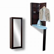 brown ironing board cabinet folding wall mounted with