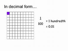 100 in decimal form decimals 1 hundredths