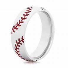 double stitch baseball ring sports wedding rings titanium buzz com