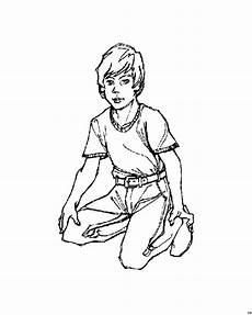 junge kniet ausmalbild malvorlage kinder