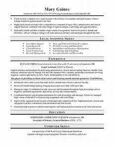 legal assistant resume sle monster com