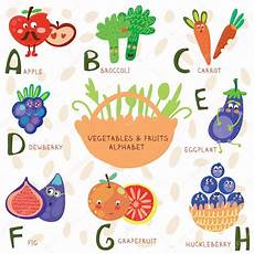 alphabet of fruit and vegetables stock vector