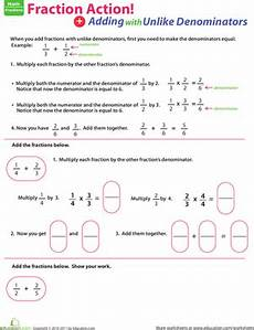 5th grade math worksheet adding fractions with unlike denominators 5th grade fractions worksheets free printables