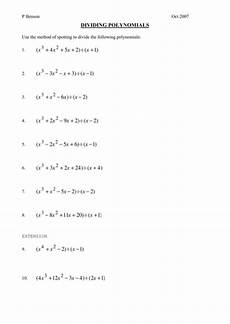 division of polynomials worksheets with answers 7014 dividing polynomials worksheet by phildb teaching resources
