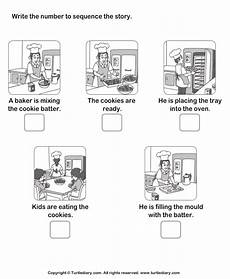 time sequencing worksheets 3200 story sequencing baker and cookie worksheet turtle diary