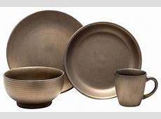 Teton 16 Piece Dinnerware Set, Rubbed Gold   Modern