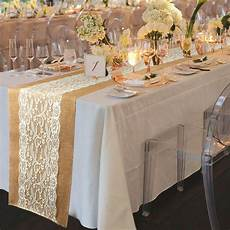 rustic burlap lace hessian table runner wedding banquet