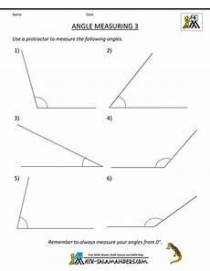 printable geometry sheets angle measuring 3 angles