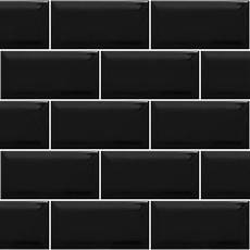 Metro Brick Gloss Black Ceramic Subway 10cm X 20cm Wall Tile