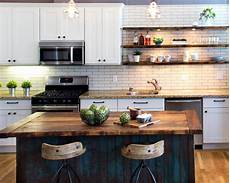 Transitional White Kitchen With Rustic Island Hgtv