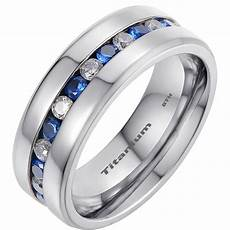 mens titanium wedding band ring with blue sapphire cubic zirconia