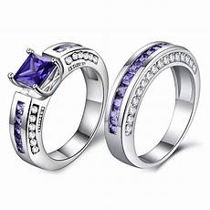 wedding ring for purple color crystal cz couple rings men engagement party