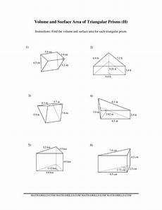 measurement worksheets 1386 volume and surface area of triangular prisms h